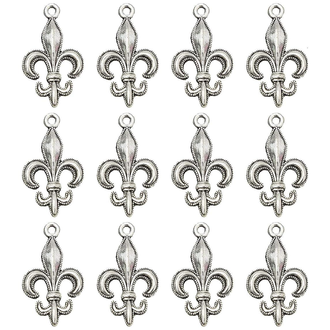 Monrocco 100 Pcs Antique Silver Fleur De Lis Charms Pendant Bulk for Bracelets Jewelry Making Crafts
