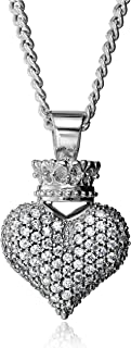 King Baby Large 3D Pave Cubic Zirconia Crowned Heart Pendant Necklace