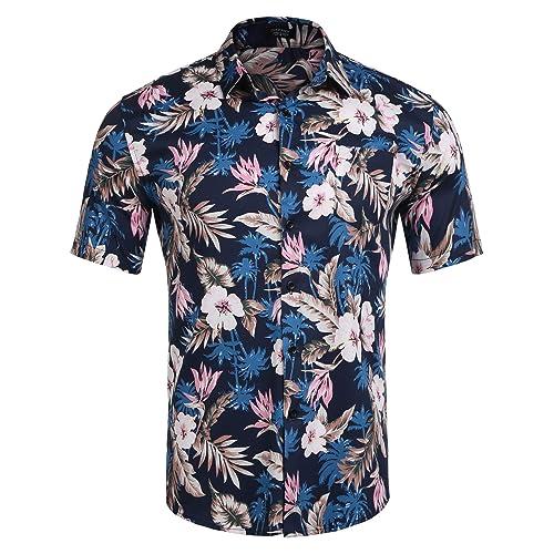 a06495cc1b43 COOFANDY Mens Hawaiian Shirt Floral Button Up Shirt Short Sleeve Slim Fit  Casual Printed Beach Shirt