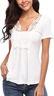 Women's Summer Ruched Front Short Sleeve Lace Casual V Neck Cute Slim Peplum Plus Size Tops Shirt Tees XS-4XL