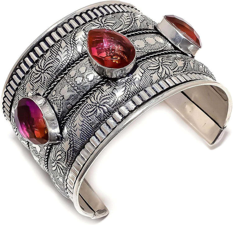 Bi-Color Tourmaline Gemstone Max 52% OFF 925 Sterling Silver Our shop most popular Bracelet Cuff A
