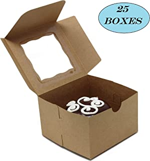 """Bakery Boxes with Window. Holds Cupcakes or Muffins; Pastries, Baked Goods, Treats. Set of 25 Kraft Brown Cardboard Boxes -Take Out Box Containers. Perfect for Any Baker. 4"""" x 4"""" x 2.5"""