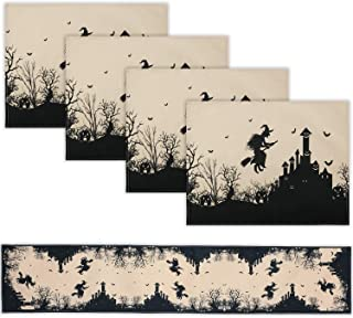 Irenare 5 Pieces Halloween Burlap Table Runner Halloween Placemat Decoration with Ghost Witch Bat Pattern for Halloween, D...