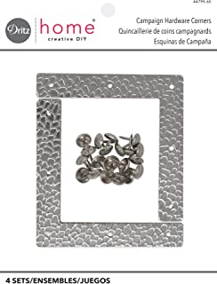 Dritz Home 44795-65 Campaign Hardware Large Hammered L, Nickel (4-Count)