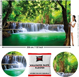 GREAT ART Photo Wallpaper Paradise Forest Waterfall Nature Spa Decoration Meditation Decor Cascade Image 132.3x93.7 in / 336x238 cm - Wallpaper 8 Pieces Includes Paste
