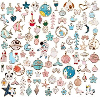 93 Pieces Mixed Enamel Theme Charms Pendants for Jewelry Making Bulk Necklace Earrings Bracelet Craft Findings
