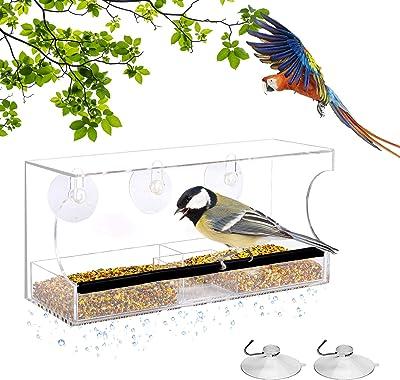 Clear House Window Bird Feeder Birdhouse With Suction Outdoor Garden Feeding A+