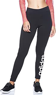 adidas Women's Essentials Linear Tights, Black/White, Small, 8-10