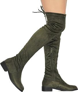 987ee624f9b3 MVE Shoes Women s Fashion Comfy Vegan Suede Block Heel Side Zipper Thigh  High Over The Knee