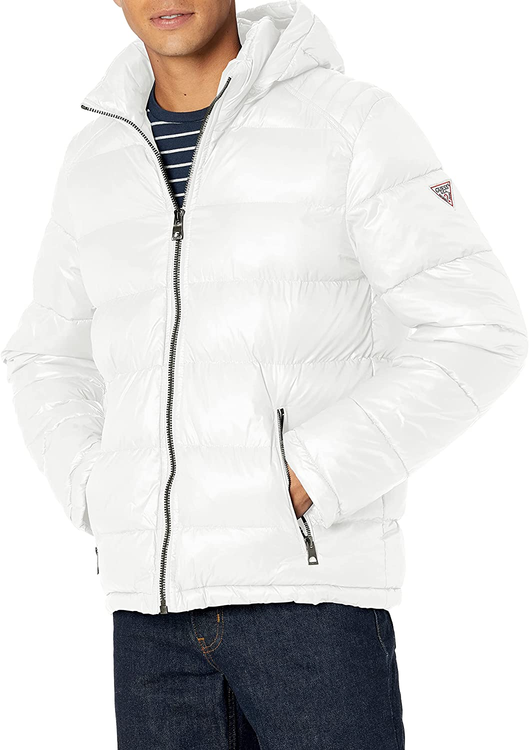 GUESS mens Mid-weight Puffer half Jacket New popularity Hood With Removable