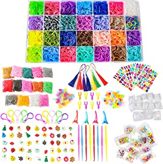 TOPNEW 22000+Rainbow Rubber Loom Bands Refill Kit DIY Weaving Craft Kit for Kids, Over 20,000 Loom Bands in 42 Colors 300 Colorful Beads 70 ABC Beads 1000 S-Clips 50 Cartoon Charms Hooks Stickers