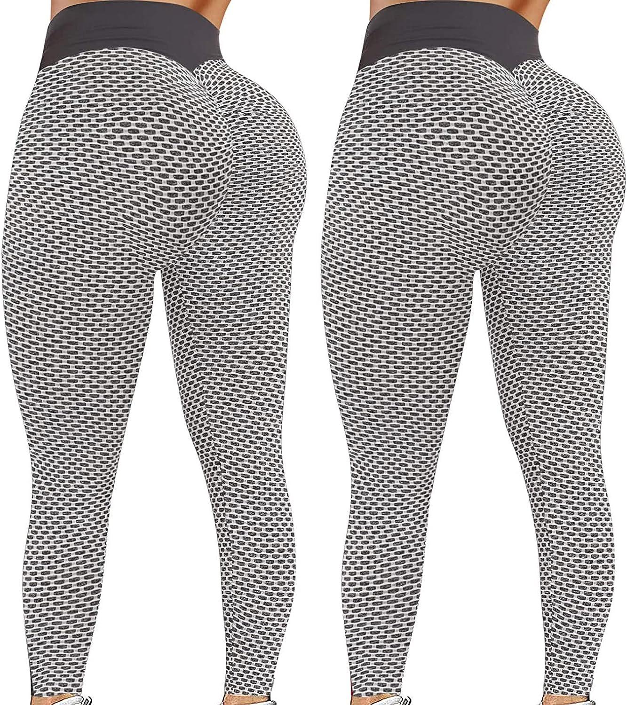 Smooto 2 Pack Famous TikTok Leggings High Waist Tummy Control Yoga Pants Tights