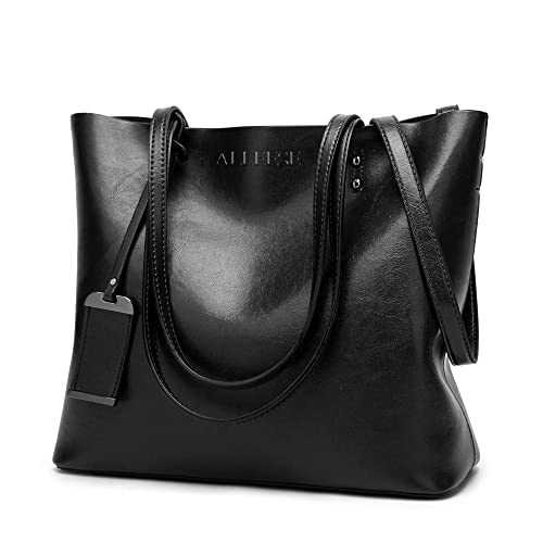 062968c70fbe Womens Soft Leather Handbags Large Capacity Retro Vintage Top-Handle Casual  Tote Shoulder Bags Black