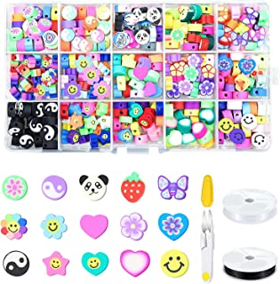 Smiley Face Beads,حبات الطين,Necomi 300 Pcs 10mm 15 Styles Polymer Clay Spacer Beads Cartoon Fruit Flower Theme with 2 Rol...
