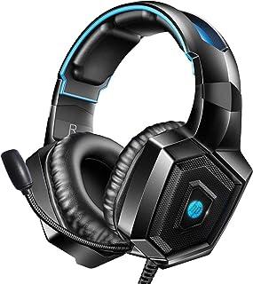 HP Auriculares estéreo para videojuegos PS4 con micrófono para Xbox One, Nintendo Switch, PC, PS3, Mac, con micrófono de cancelación de ruido, sonido envolvente cómodo y luces LED