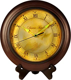Divine Time Scripture Wall Clock, Bible Verse Reading Time Piece, Glow In The Dark Hands for Kids and Adults, Clock with Stand, Spanish/English, Battery Operated Easy to Install for Home and Office