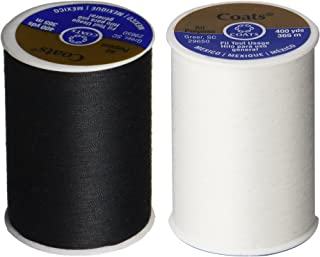 2-Pack - BLACK & WHITE - Coats & Clark Dual Duty All-Purpose Thread - One 400 Yard Spool each of BLACK & White