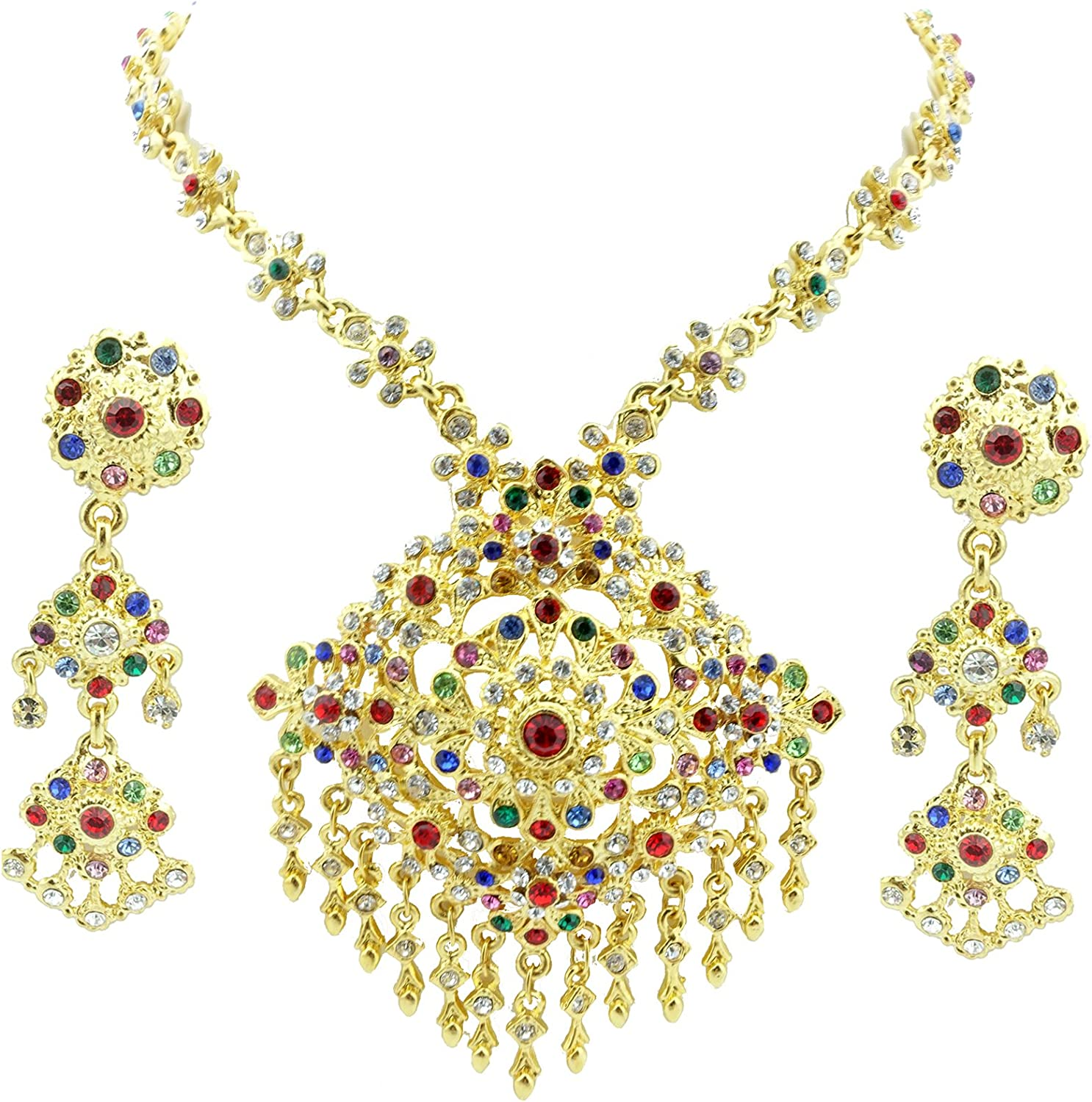Siwalai Thai Traditional Gold Plated Multicolor Crystals Necklace Earrings Jewelry Set 22.5 Inches