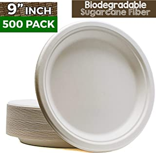 Green Earth 9-Inch, 500-Count, Compostable Plates, Natural Bagasse (Sugarcane Fiber), Everyday Tableware - Biodegradable – Disposable - Round Shape - Microwave-Safe - Gluten-Free - Eco-Friendly (500)