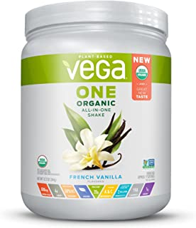 Vega One Organic All-in-One Shake French Vanilla (9 servings) - Plant Based Vegan Protein Powder, Non Dairy, Gluten Free, Non GMO, 12.2 Ounce (Pack of 1)