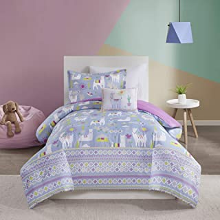 Mi Zone Kids Andes Comforter Cute Llama Cactus House Printed Striped Embroidered Pillow Ultra-Soft Overfilled Down Alternative Hypoallergenic All Season Bedding-Set, Twin, Lavender