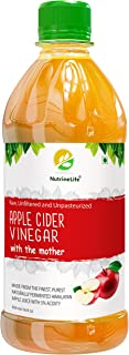 Nutrinelife Apple Cider Vinegar for weight Management ACV 500 ml with Mother, Raw Unfiltered Unpasteurized Apple Cider Vinegar for weight Management, hair Growth Face, Beauty, Health Small Bottle for Men and Women, (Pack of 1)