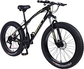 26 Inch Wheel 21 Speed 4.0 Fat Tire Bike Snow and Grass Sand Bicycle Mountain Bike,with Powerful Disc Brakes Fatbike