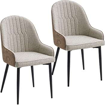 Lestarain Sillas de Comedor Dining Chairs Sillas Tapizadas Pack 2 Sillas Cocina Nórdicas Lino Sillas Bar Metal Silla de Oficina Beige: Amazon.es: Hogar