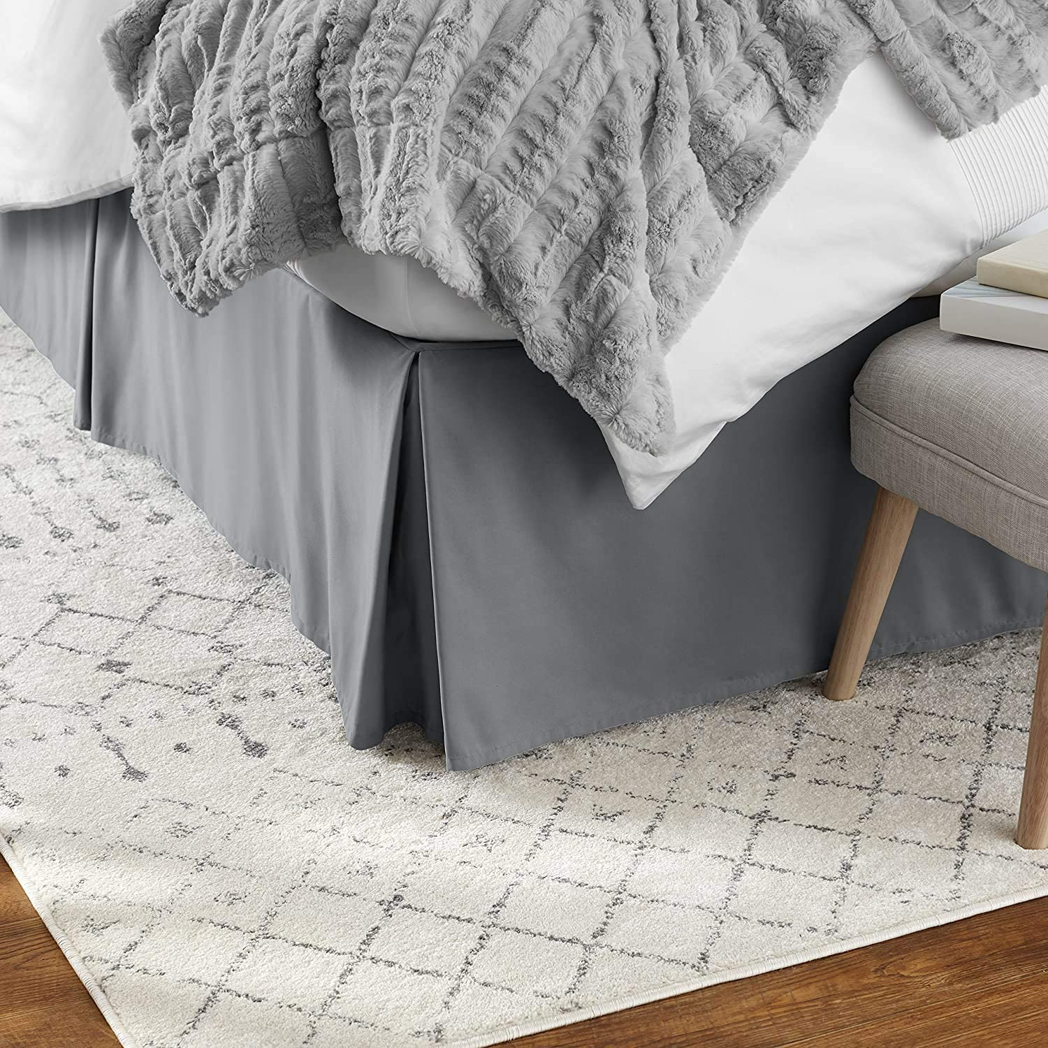 Bed Skirt Cal-King Max 67% OFF 15 Inch Drop 100% Hote Don't miss the campaign Cotton Solid Grey Dark