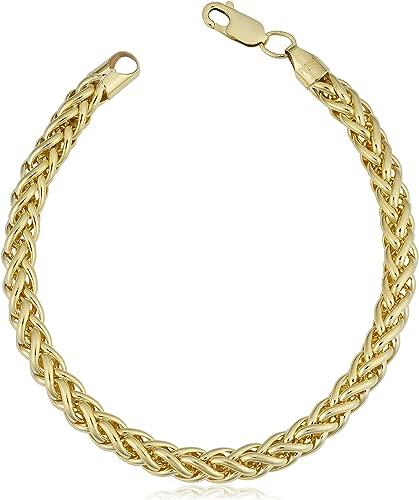 Kooljewelry 14k Yellow Gold Filled Heavyweight Unisex 6 mm Franco Link Chain Bracelet