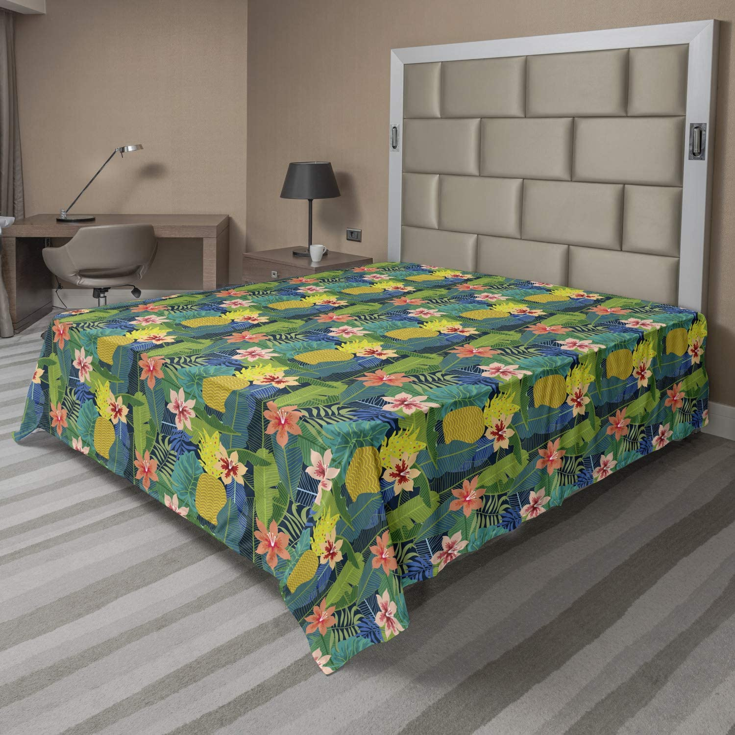 Ambesonne Floral Branded goods Same day shipping Flat Sheet Colorful Plantatio Design Caribbean
