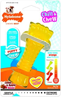 Nylabone Puppy Chew Freezer Dog Toy, Lamb & Apple Flavor, Wolf