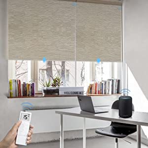 Graywind Motorized Roller Shades 100% Blackout Free Stop Window Shades Cordless Wireless Remote Control Window Roller Blinds with Valance for Smart Home and Office, Customized Size, Jacquard Coffee