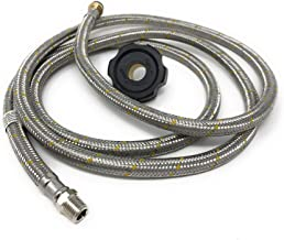 LPG Propane Gas Hose [3261] Pigtail Connector 1/4 MNPT x 7/8-14 Left Nut Hand-Wheel Connector – Black – 2 mt or 6.5 Feet Low Pressure 6' Braided Aluminum Reinforced Gas Hose Pigtail Rabo de Cochino