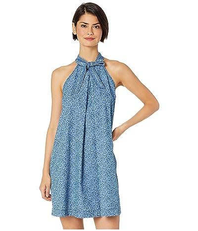 CeCe Sleeveless Printed Floral Denim Halter Neck Dress (Indigo) Women