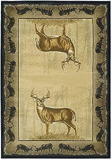 United Weavers of America Buck Wear Collection Believe Deer Rug, 7-Feet 10-Inch by 10-Feet 6-Inch, Natural