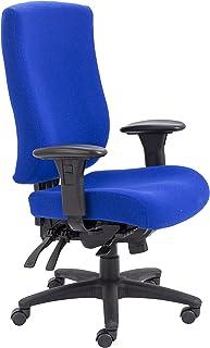 Office Hippo - Silla de escritorio, respaldo alto, uso 24 horas, capacidad de carga de 150 kg, reposabrazos 2D, mecanismo asíncrono, respaldo de trinquete, tela, color azul