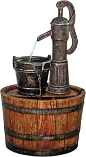 Design Toscano SS11155 Water Fountain - Cistern Well Pump Wood Barrel Garden Decor Fountain - Outdoor Water Feature,full color
