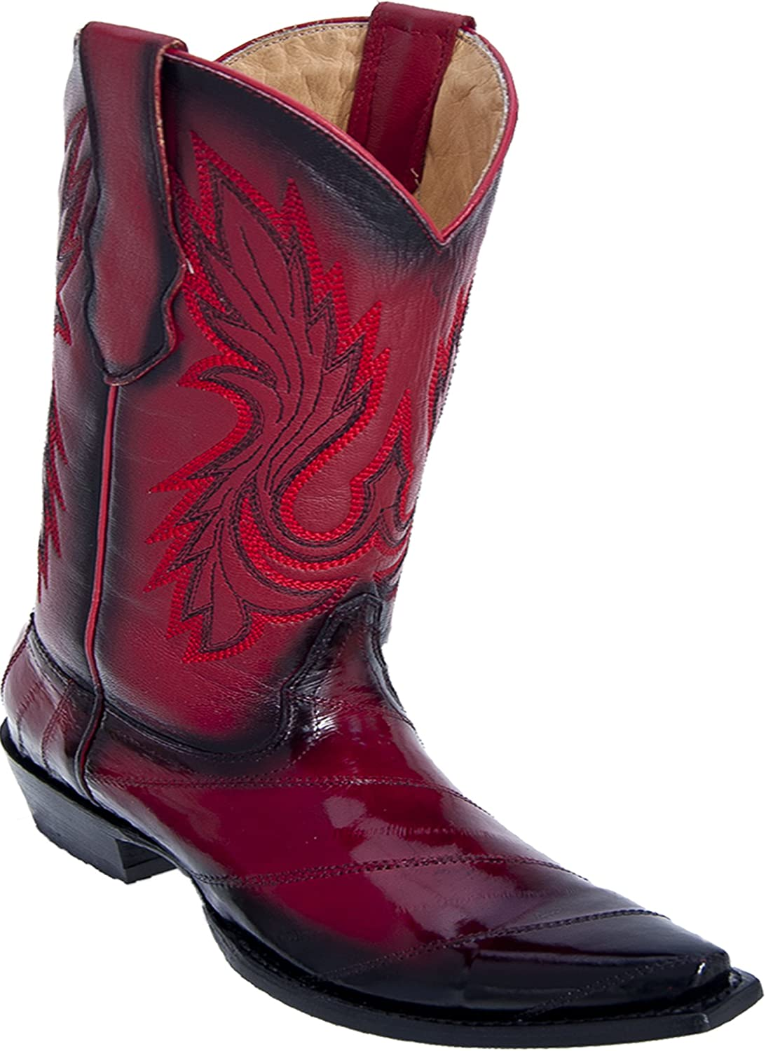 Los Altos Ladies Snip Toe Faded Red Genuine Leather EEL Skin Western Boots