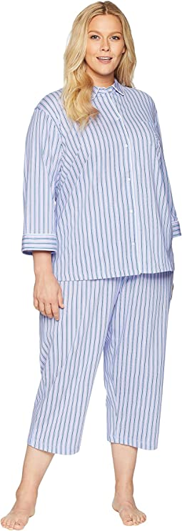 Plus Size 3/4 Sleeve Rounded Collar Capris Pajama Set