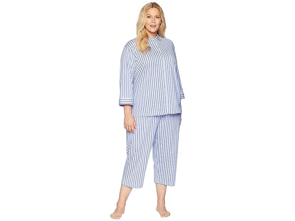 LAUREN Ralph Lauren Plus Size 3/4 Sleeve Rounded Collar Capris Pajama Set (Multi Stripe) Women