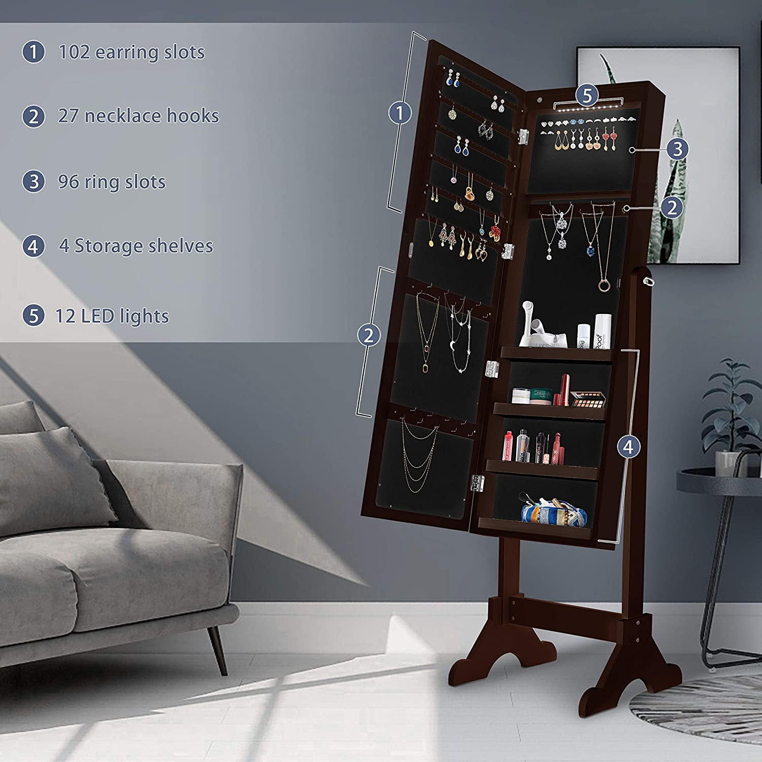 Jewelry cabinet with Full Length LED Touch Screen Lighted Mirror Brown Standing Large Capacity Mirrored Jewelry Organizer