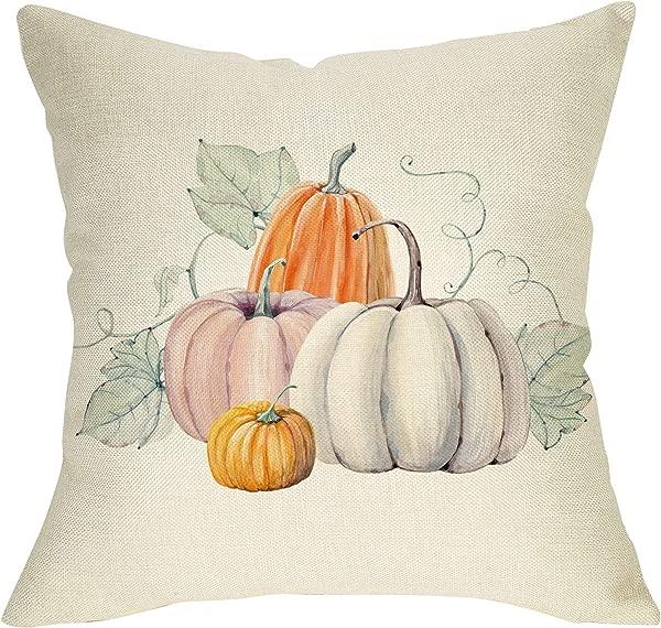 Pycat Fall Watercolor Pumpkin Throw Pillow Cover 18 X 18 For Couch Autumn Thanksgiving Decoration Farmhouse Home Decor Decorative Pillowcase Cotton Linen Cushion Case For Sofa