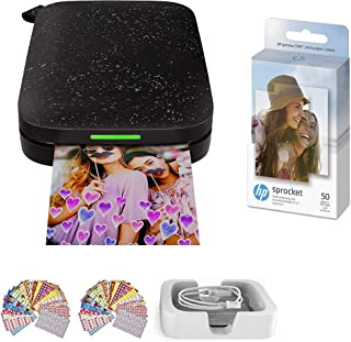 HP Sprocket Photo Printer (2nd Edition) Instantly Print Social Media Photos on 2x3 Sticky-Backed Paper (Black) + Photo Pap...
