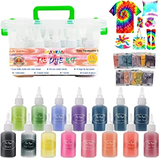 SAKLAM Tie Dye Kit 15 Colors Tie-Dye Textile Colors with Gloves and Table Covers for Kids Adults Clothes Shirts Bags Dress...