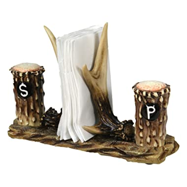 River's Edge Products Salt and Pepper Shakers, Deer Antlers, Napkin Holder, Ceramic Matching Set