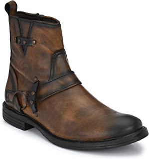 Delize Black/Brown/Tan Syth. Leather Mid Ankle Side Zipper Chelsea Boots for Men