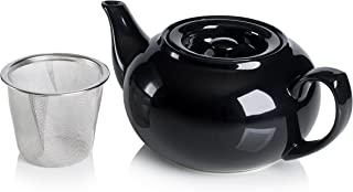 Adagio Teas PersonaliTea Ceramic Teapot with Infuser Basket, 24-Ounce, Black