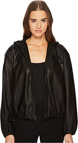 Vince - Leather Zip-Up Hoodie