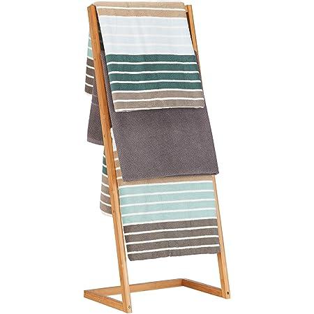 Relaxdays Porte-serviettes sur pied 4 bras salle de bain bambou échelle valet serviteur 98 x 40.5 x 28 cm, nature